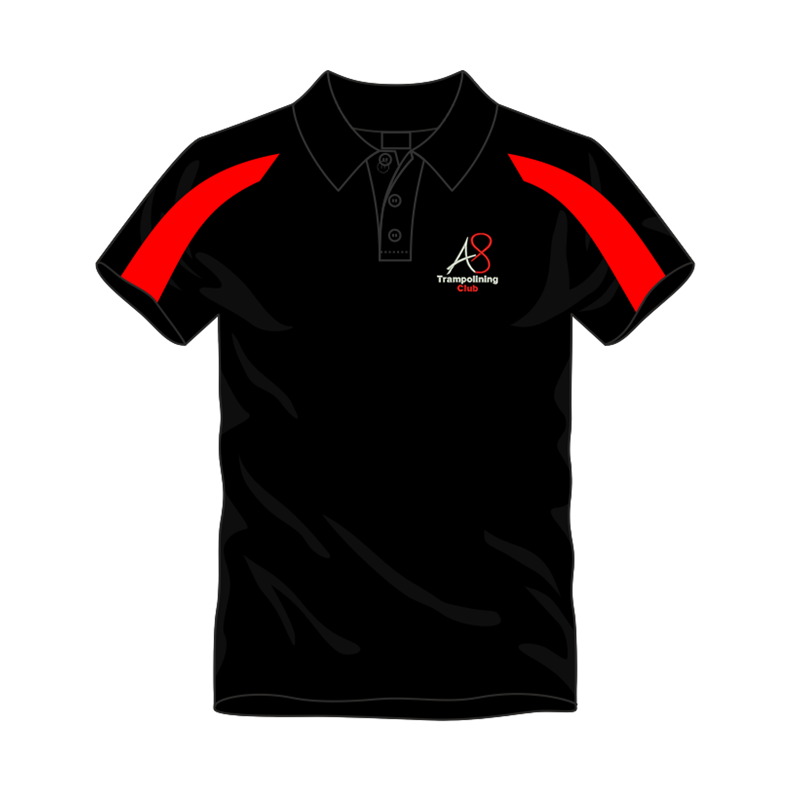 Activ8 Cool Polo in Black/Red, logo to the front and name to back