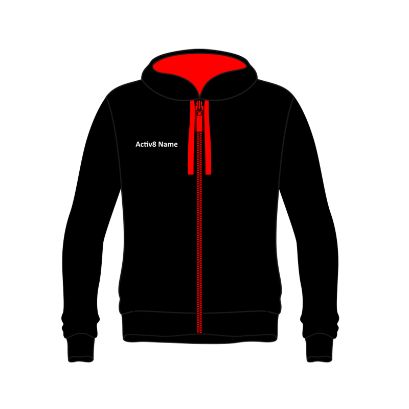 Activ8 Zipped Hoodie in Black/Red with logo and name to front