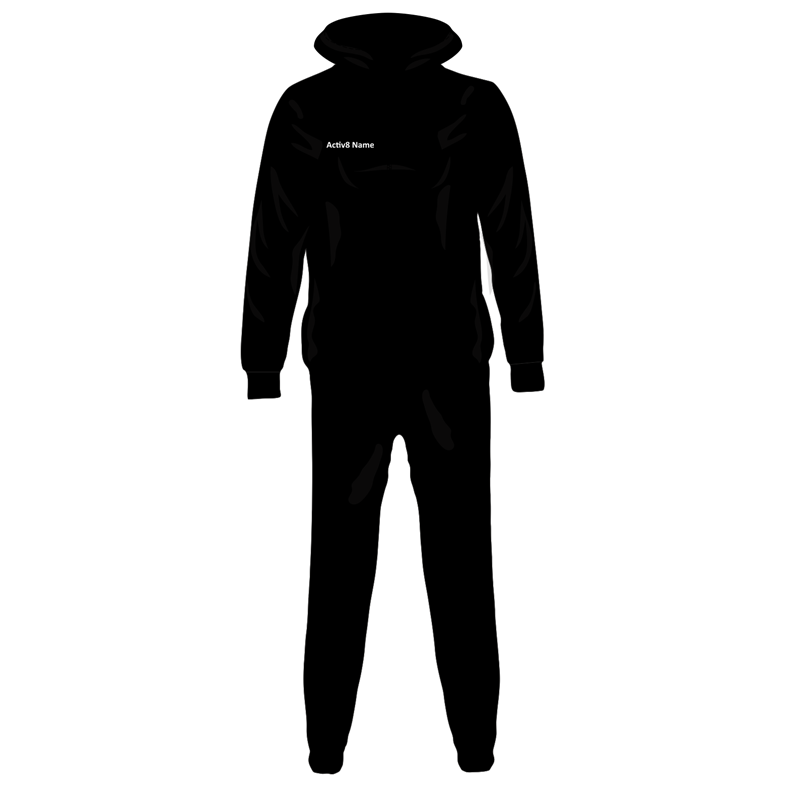Activ8 Onesie in black, logo to back, name to front and print to leg