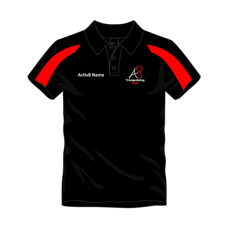 Activ8 Coach Polo in Black/Red, logo and name to front, printed COACH to back