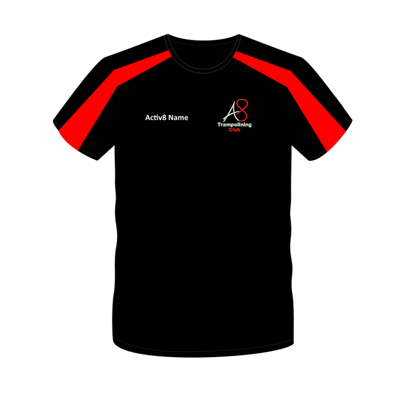 Activ8 Coach T in Black/Red, logo and name to front, printed COACH to back