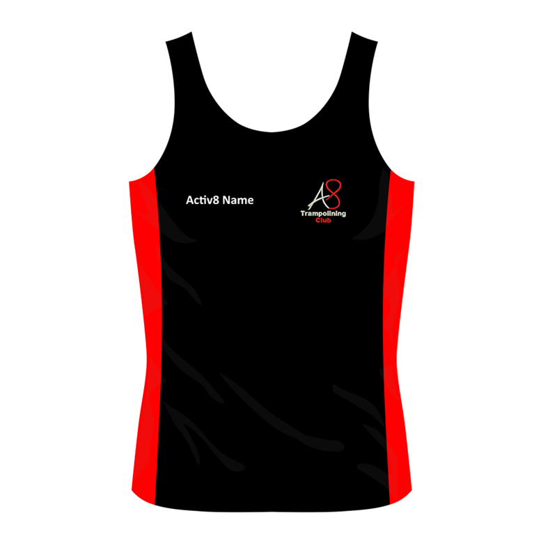 Activ8 Coach Vest in Black/Red, logo and name to front, printed COACH to back