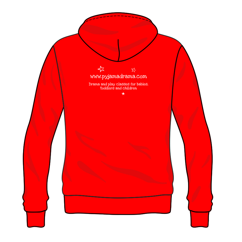 Hooded Sweat printed Pyjama Drama logo front and back