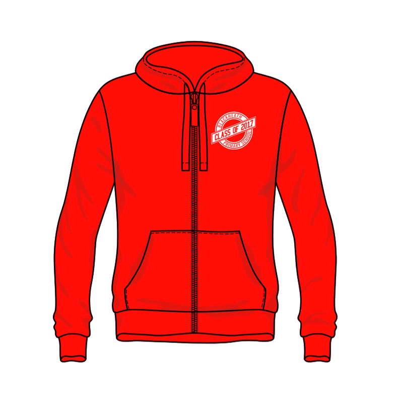 Polyester Cotton Zip Through Hooded Sweatshirtwith front pouch pocket, printed logos to front and back, BHPS leavers design for 2017. Sizes 7/8 Years to Adults Large.