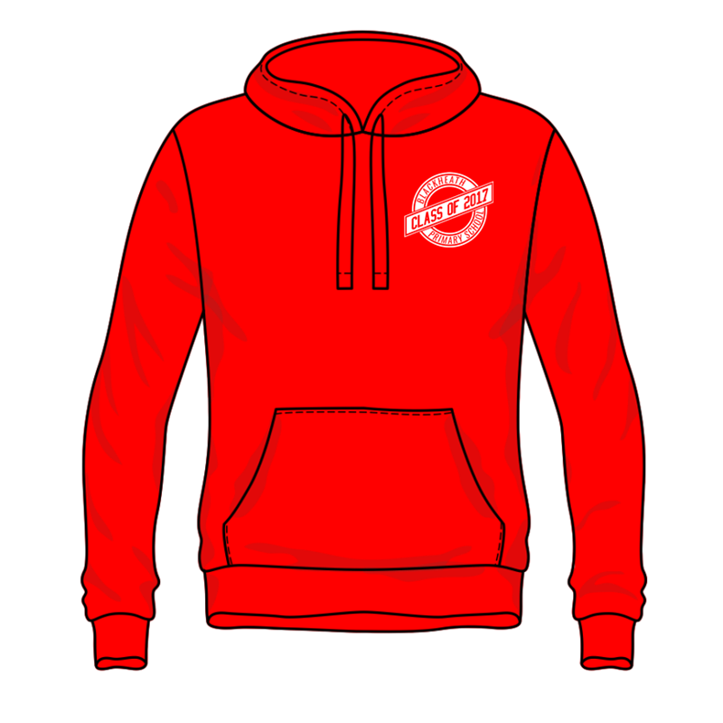 Polyester Cotton Hooded Sweatshirt with front pouch pocket, printed logos to front and back, BHPS leavers design for 2017. Sizes 7/8 Years to Adults Large.