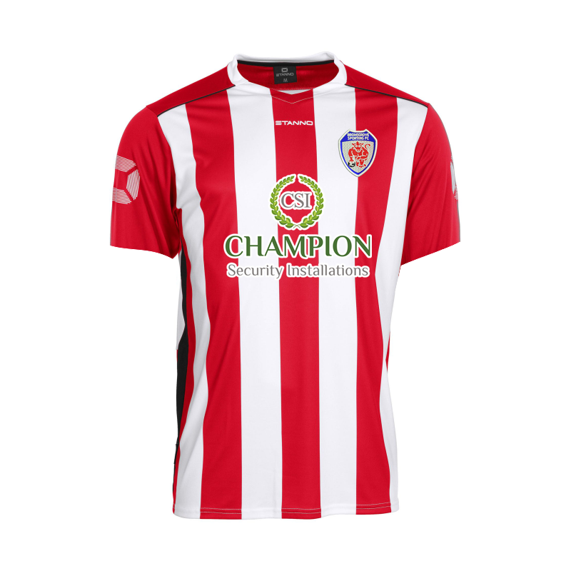 Sporting Home Replica shirt; embroidered club logo with sponsor prints to front and back of neck