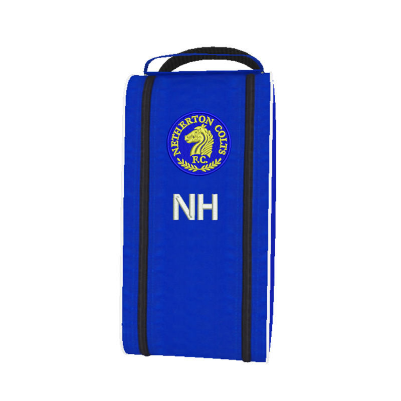 Nylon boot bag embroidered with club logo and initials.