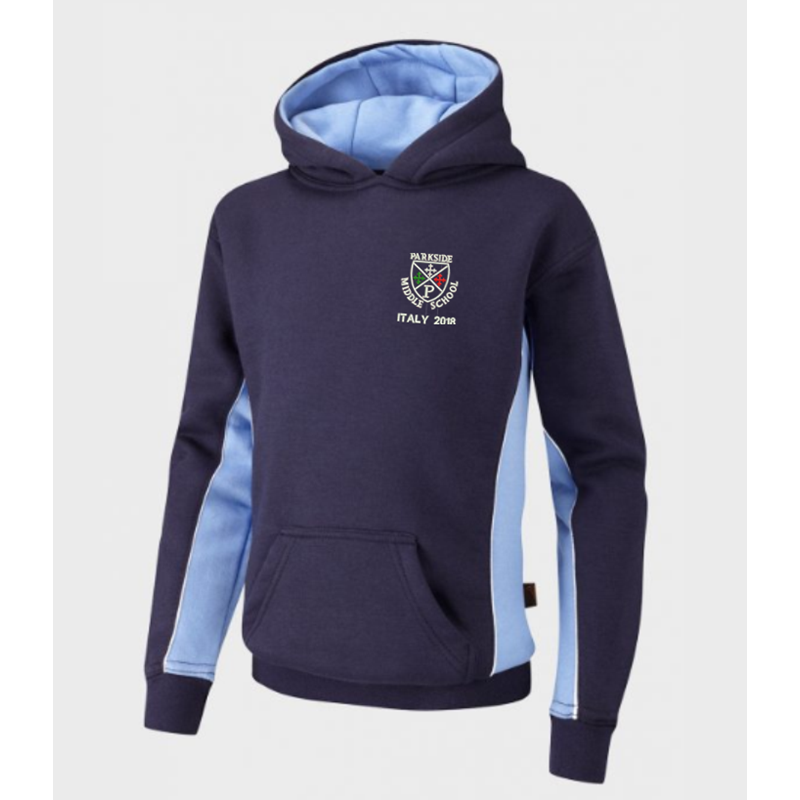 Hooded Top embroidered with Parkside School Logo Italy 2018 logo front and option to print name to the back.