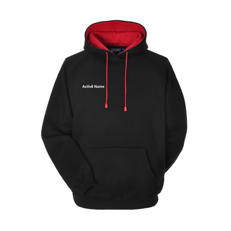 380Gm premium Hoody, with name, logo printed to back.