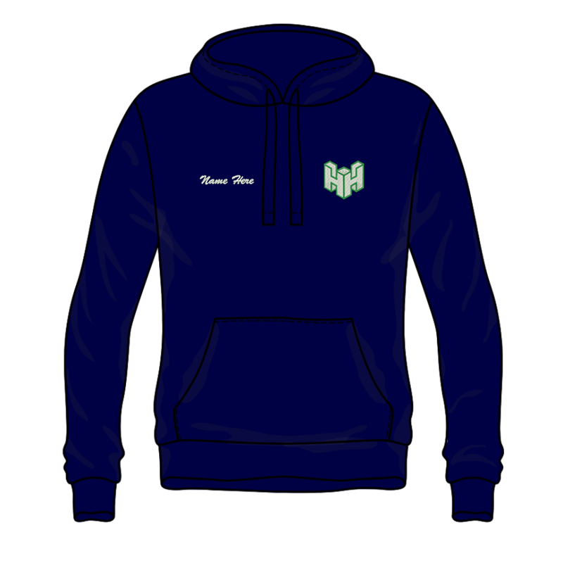 Navy Hooded Top, embroidered with club logo and your name, printed logo to back.