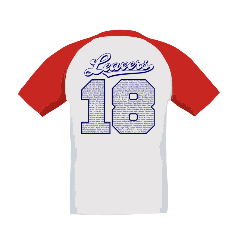 Baseball T Shirt, printed front and back with Leavers 18 logos, includes all leavers names on the back print.