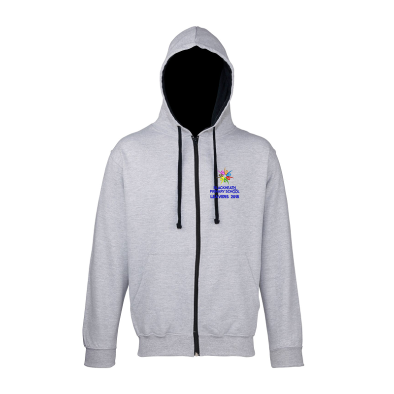 Grey Zipped Hoodie with Blue Inner hood trim, embroidered School leavers logo to the front, and printed 18 Leavers design to back including all leavers names.