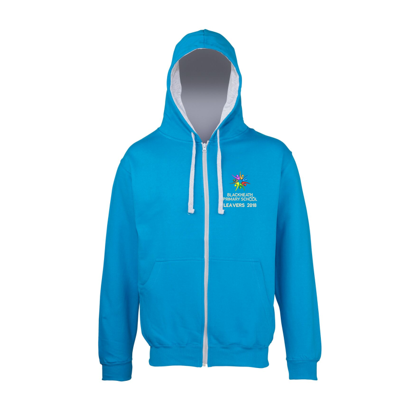 Sapphire Blue Zipped Hoodie with Grey Inner hood trim, embroidered School leavers logo to the front, and printed 18 Leavers design to back including all leavers names.