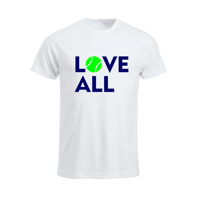 Crew Neck Cotton T Shirt printed Love All design to front, Unisex (Mens sizes) Lady fit also available.