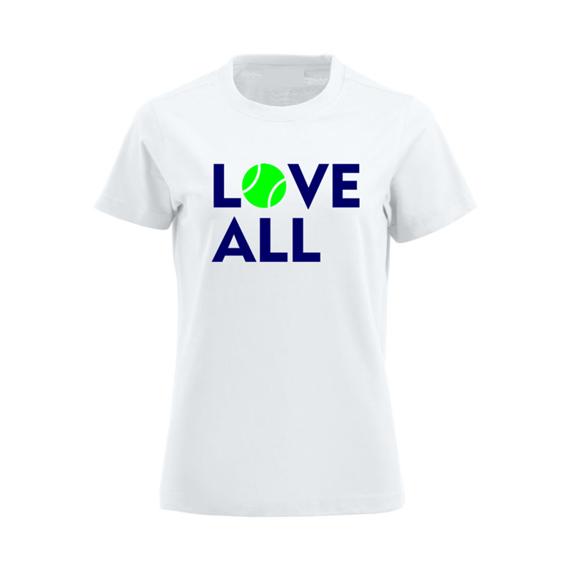Crew Neck Lady Fit Cotton T Shirt printed Love All design to front.