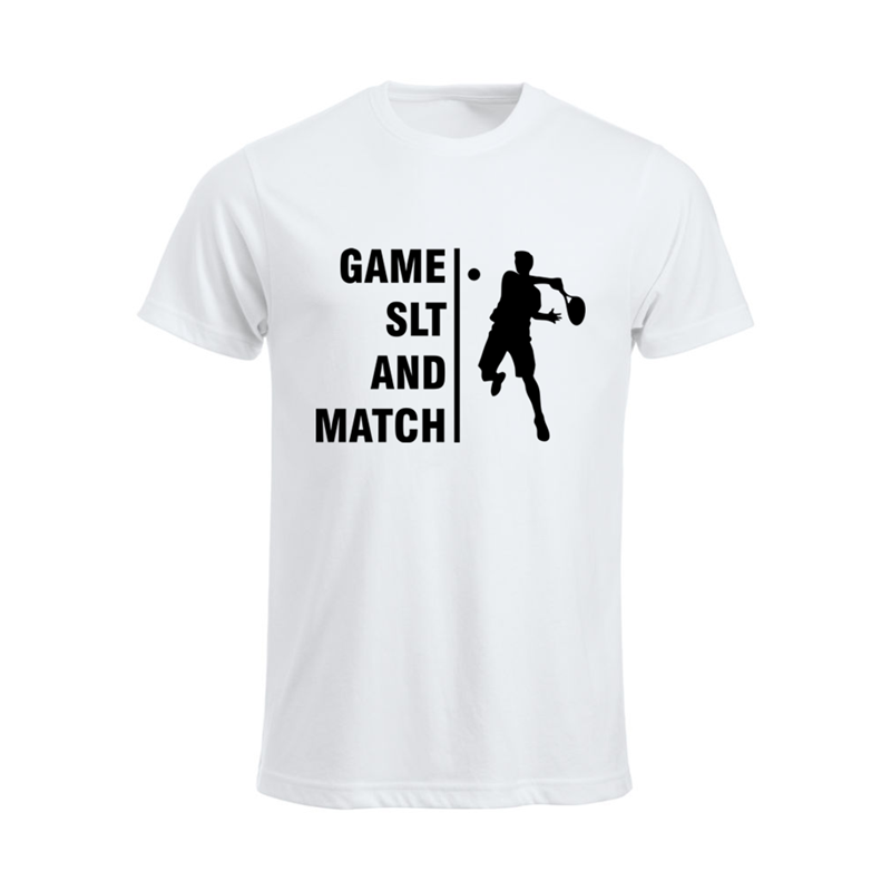 Cotton Crew Neck T Shirt printed Game SLT and Match design to front.