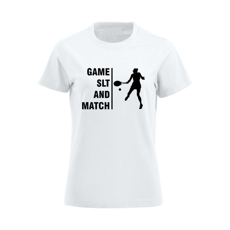 Crew Neck Lady Fit Cotton T Shirt printed Game SLT logo to front.