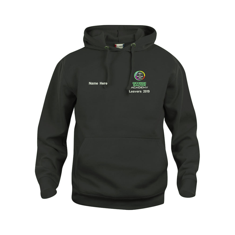 Black hooded sweater complete with School logo and Leavers print to back with students names listed. Includes individual name embroidered to the front.