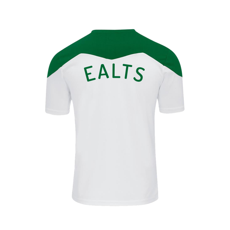 Polyester contrast shirt, white with Green trim. Embroidered club logo to left breast and EALTS to the rear. Sizes Youths X Small to 4XL Adults.