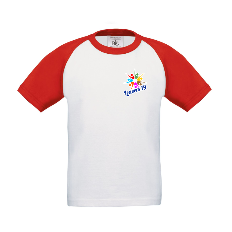 Baseball T Shirt, printed front and back with Leavers  logos, includes all leavers names on the back print.