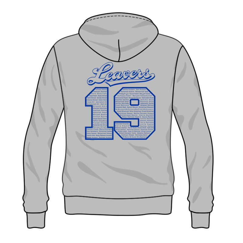 Grey Hoodie with Navy Inner hood trim, embroidered School leavers logo to the front, and printed  Leavers design to back including all leavers names.
