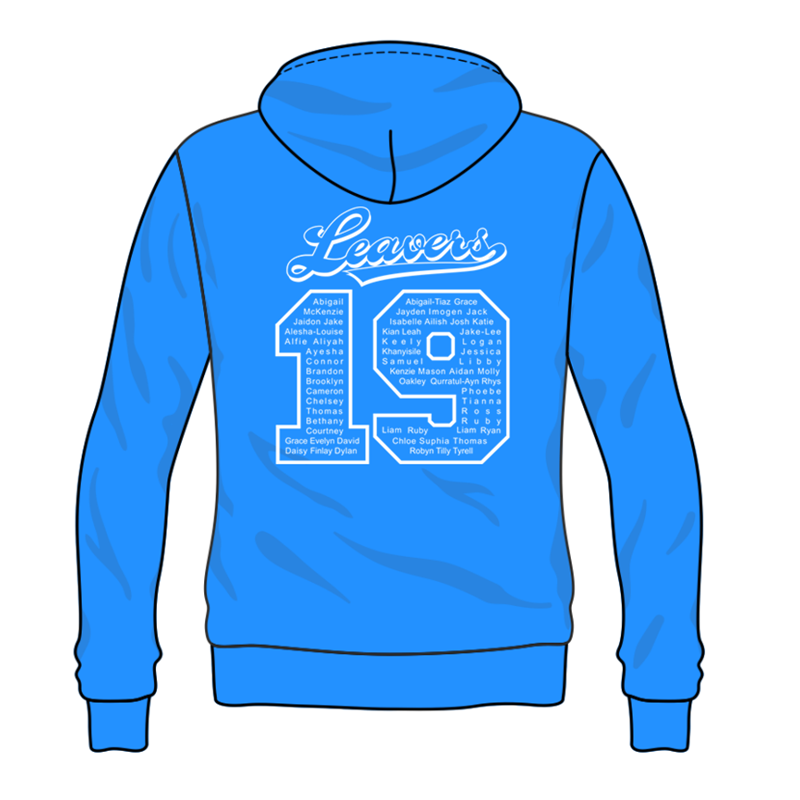 Sapphire Blue Hoodie with Grey Inner hood trim, embroidered School leavers logo to the front, and printed Leavers design to back including all leavers names.