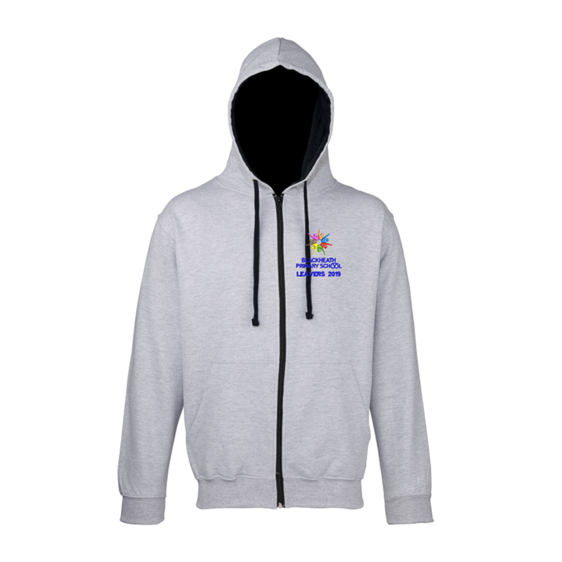 Grey Zipped Hoodie with Blue Inner hood trim, embroidered School leavers logo to the front, and printed Leavers design to back including all leavers names.