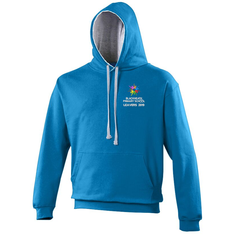Sapphire Blue Zipped Hoodie with Grey Inner hood trim, embroidered School leavers logo to the front, and printed Leavers design to back including all leavers names.