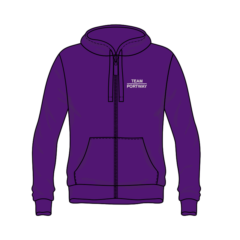 Premium qualityaAuthentic hooded zipped sweatshirt embroidered Team portway logo to front and back.