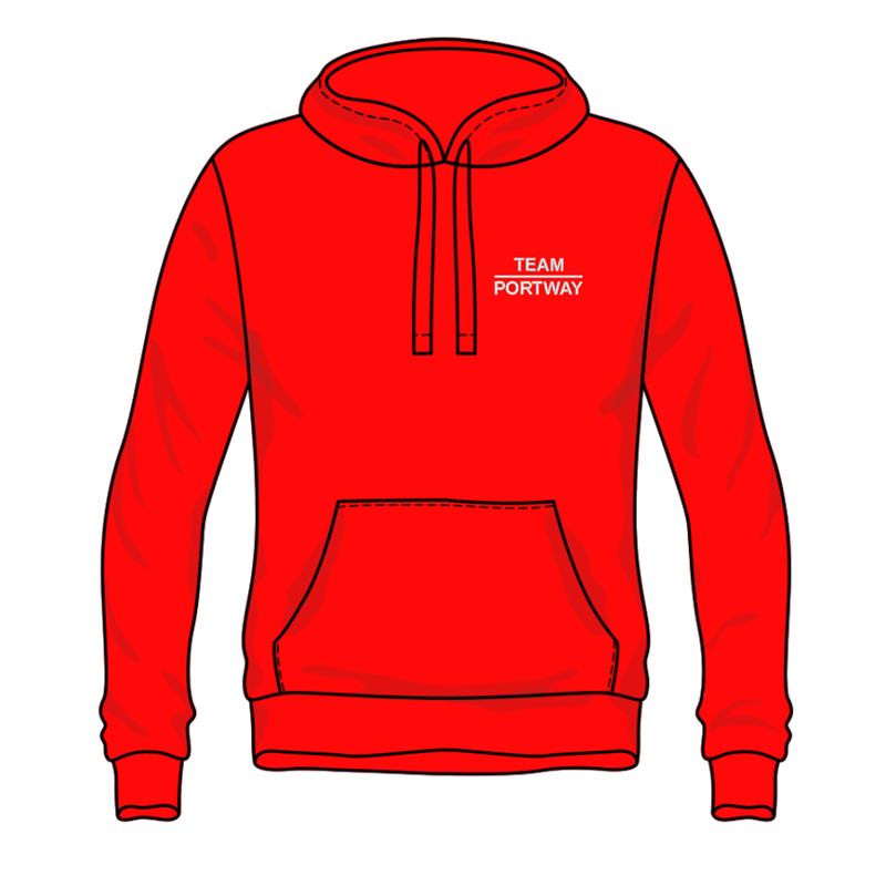 Premium qualityaAuthentic hooded sweatshirt embroidered Team portway logo to front and back.
