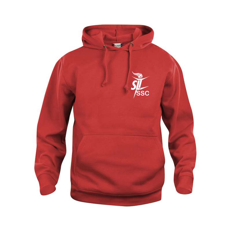 Hooded Sweatshirt with Smethrock logos front and back, available in Charcoal Grey, Red, Blue and Black. Unisex sizing.