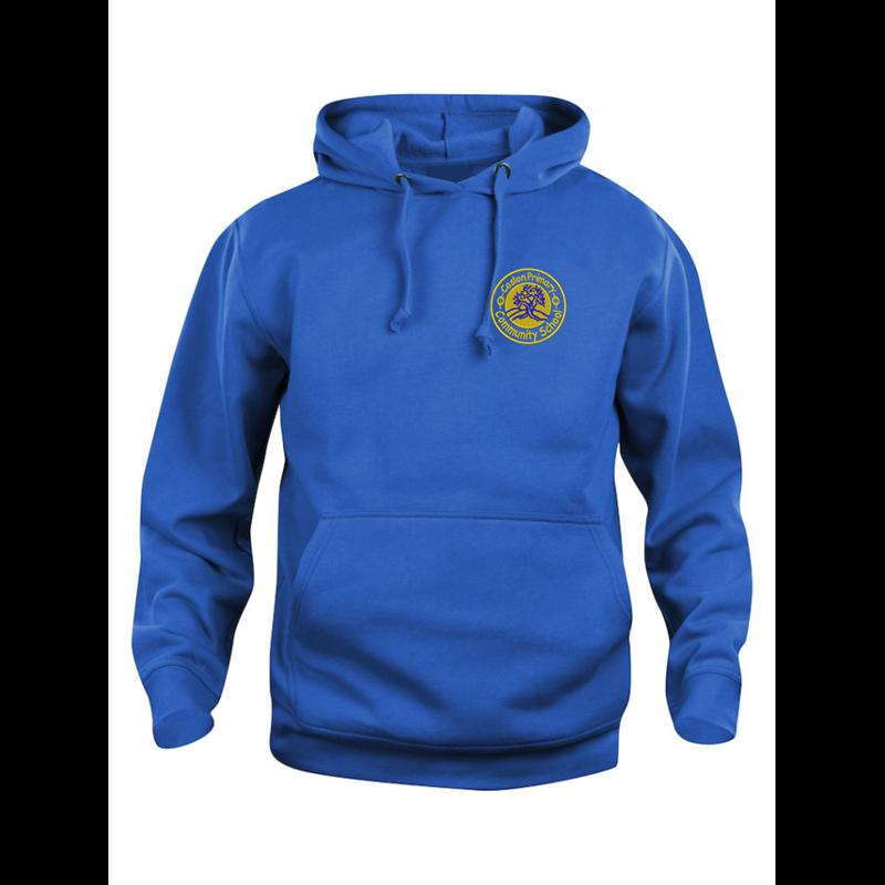 Blue hooded sweatshirt printed with Leavers 20 to back.