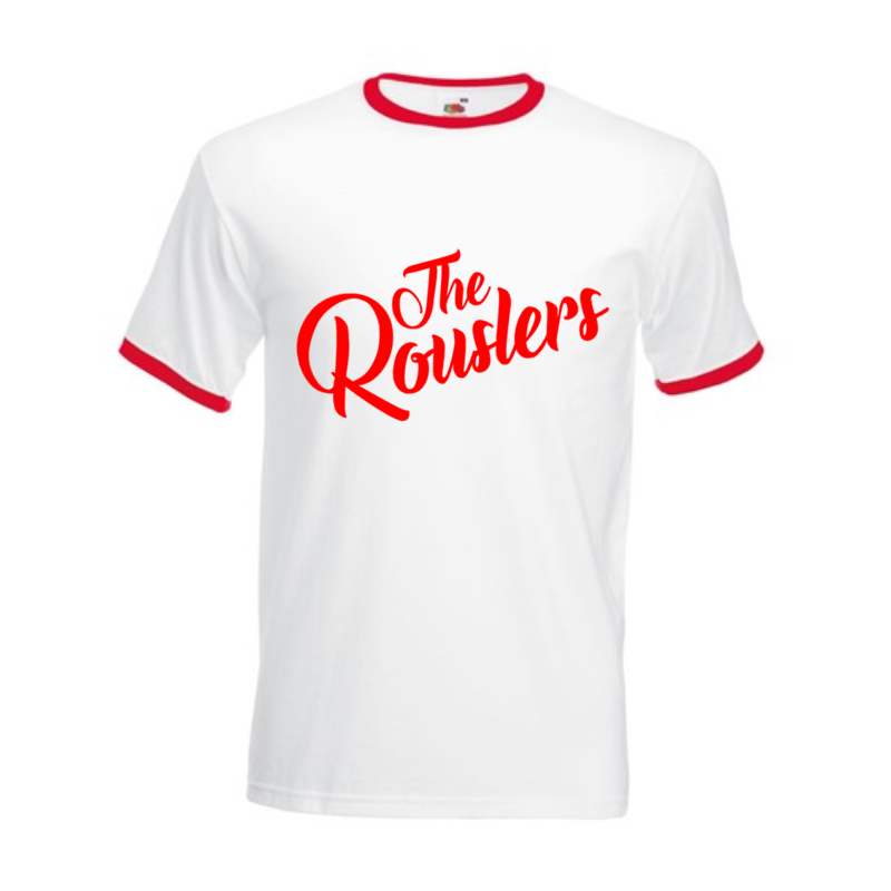 Ringer T Shirt with The Rouslers  logo to front