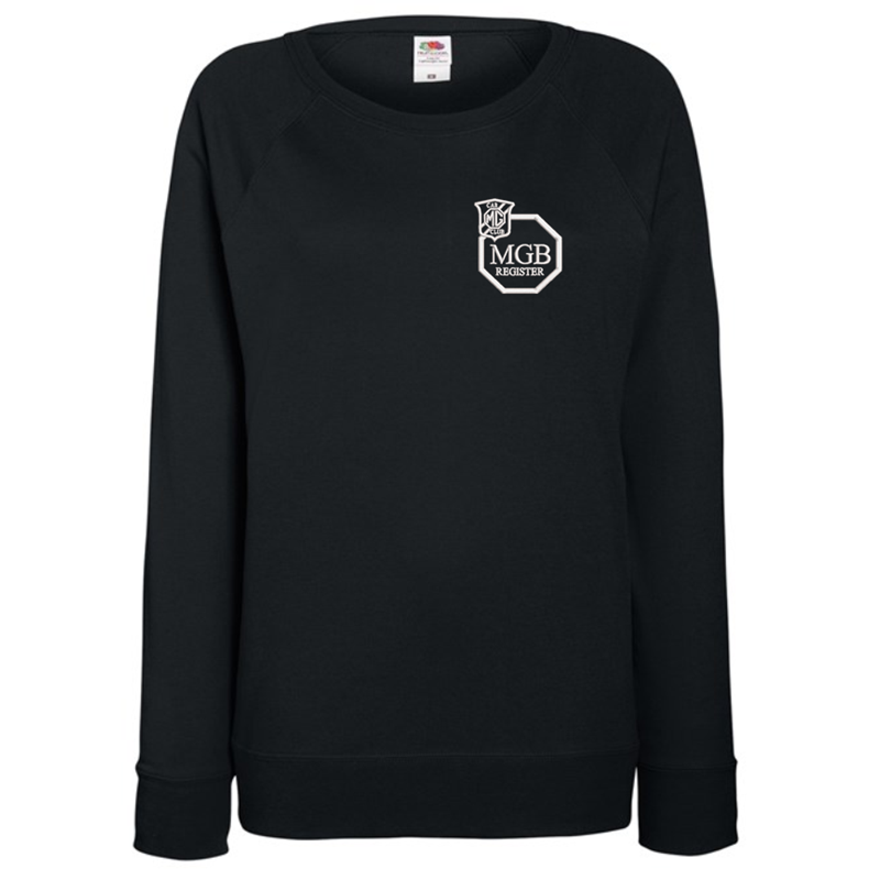 Ladies Lightweight unbrushed (French Terry) Sweatshirt with raglan sleeves, embroidered logo left breast.