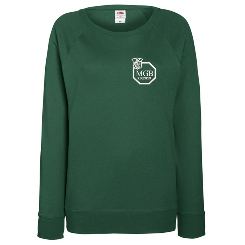 Ladies Lightweight unbrushed (French Terry) Sweatshirt with raglan sleeves, embroideBottle Green logo left breast.