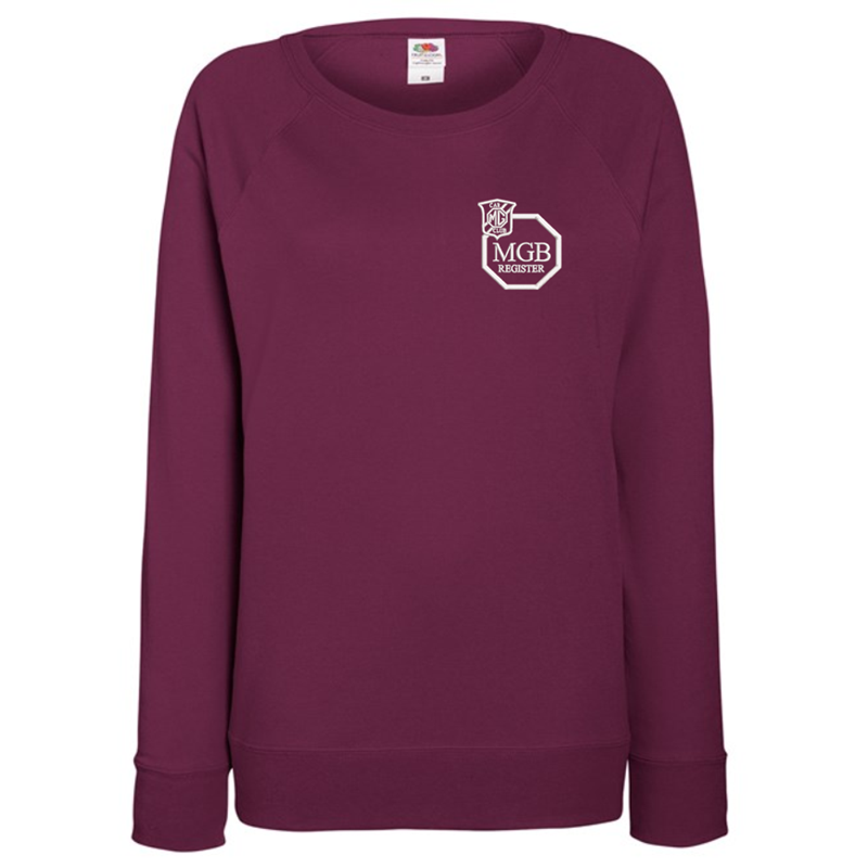 Ladies Lightweight unbrushed (French Terry) Sweatshirt with raglan sleeves, embroideBurgundy logo left breast.