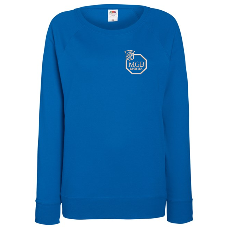 Ladies Lightweight unbrushed (French Terry) Sweatshirt with raglan sleeves, embroideRoyal logo left breast.