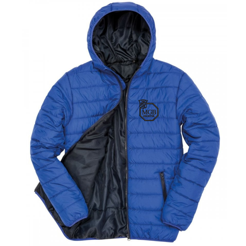 Padded Sports Jacket with club logo - Showerproof, windproof, super soft, lightweight and warm  Ready to brand with hinged locker patch in neck for self-branding