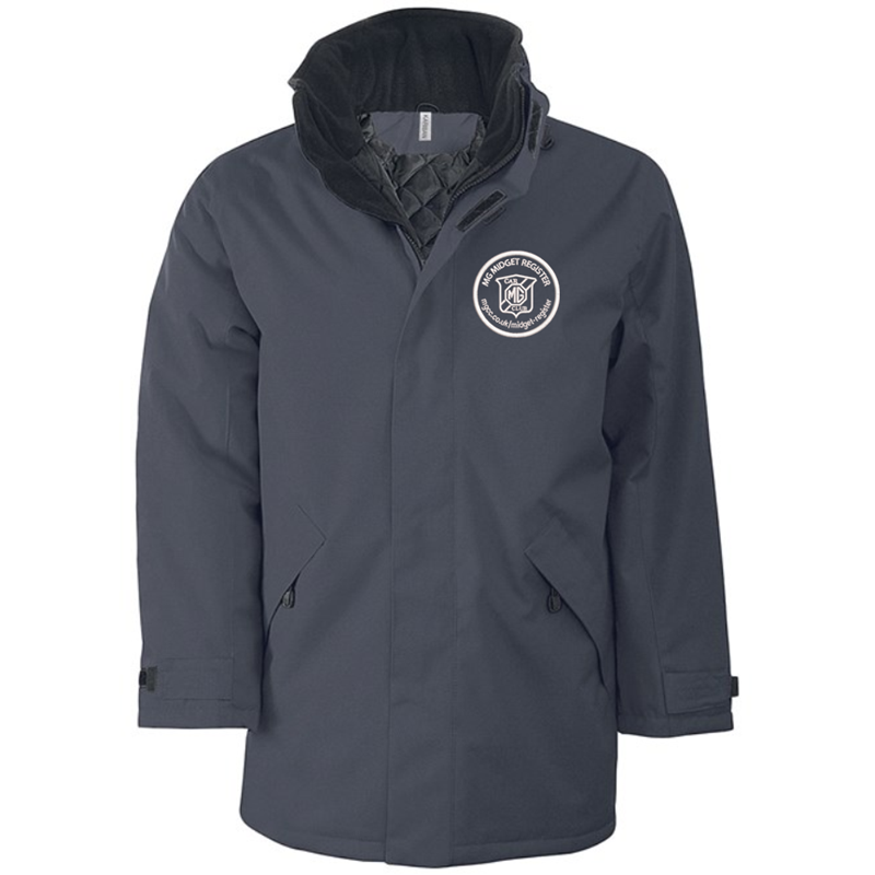 Quilted lined parka jacket with multiple pockets, embroidred logo left breast.