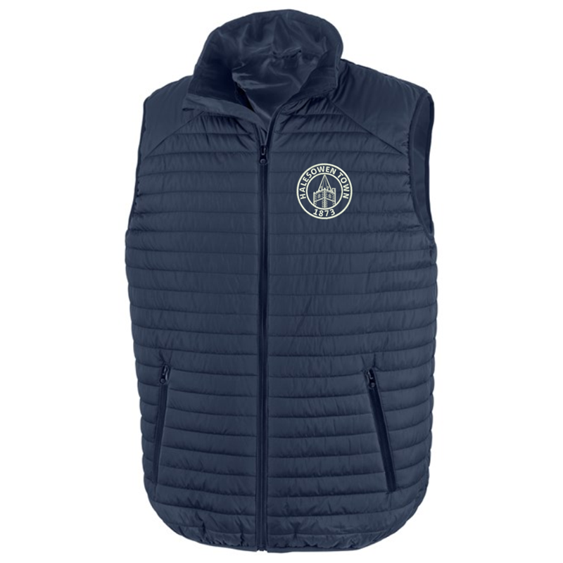 Quilted gilet  embroidred logo left breast.
