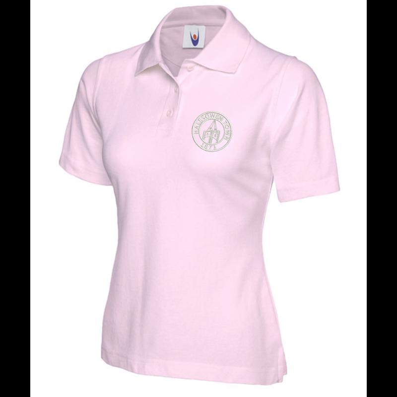 Polycotton Ladies Poloshirt embroidered logo left breast.