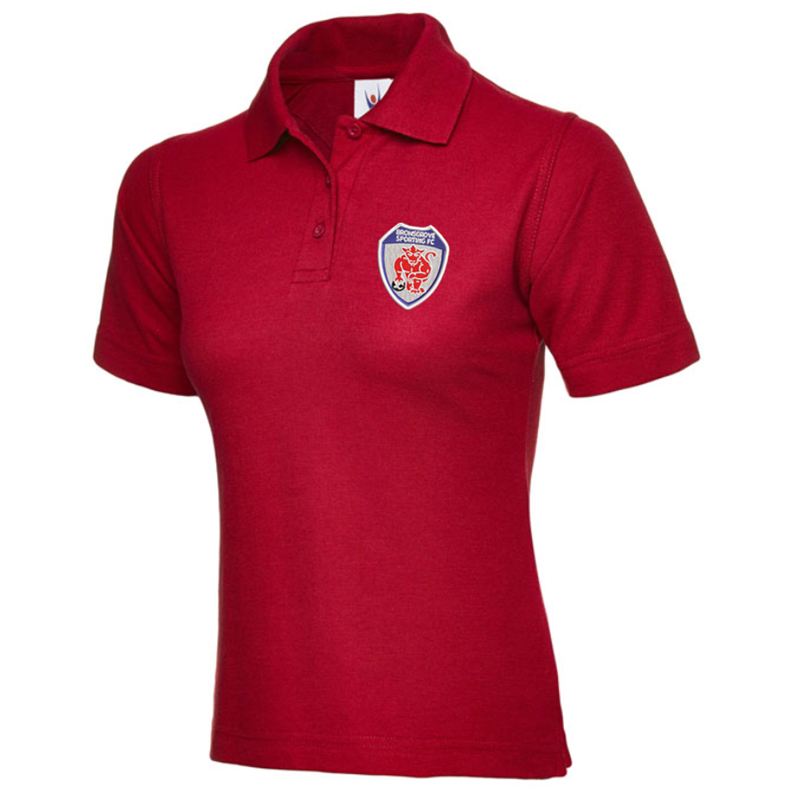 Polycotton Ladies Poloshirt embroidered logo left breast.