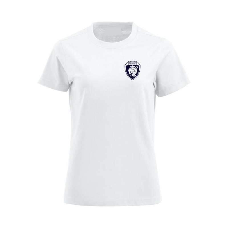 Cotton Lady Fit T Shirt with silicon print logo to left breast & The Rouslers to back of neck.