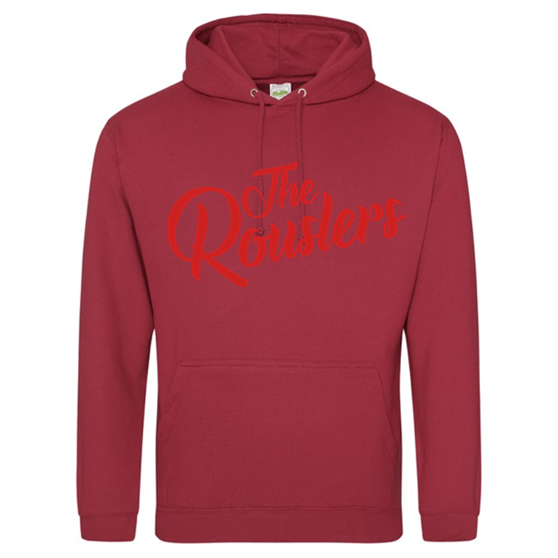 Traditional hooded sweatshirt with printed design to the front.