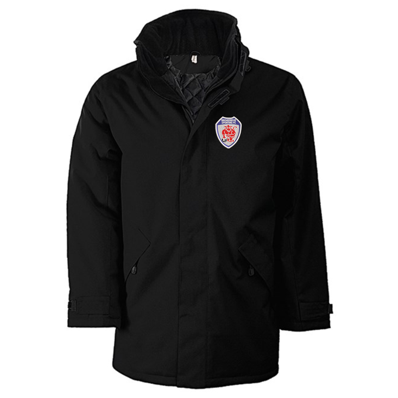 Quilted lined parka jacket with multiple pockets, embroidered logo left breast.