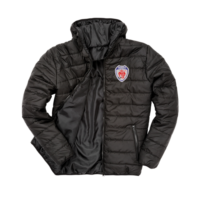 Padded Sports Jacket with club logo - Showerproof, windproof, super soft, lightweight and warm.