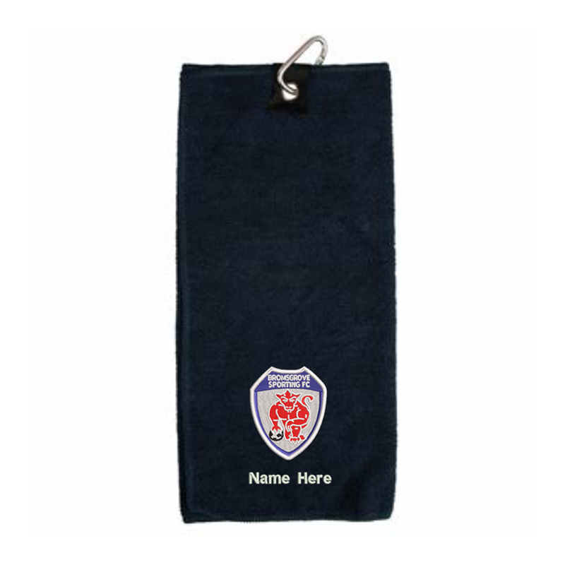 Personalised Sports/Golf Towel, club logo and your choice of name or text below!