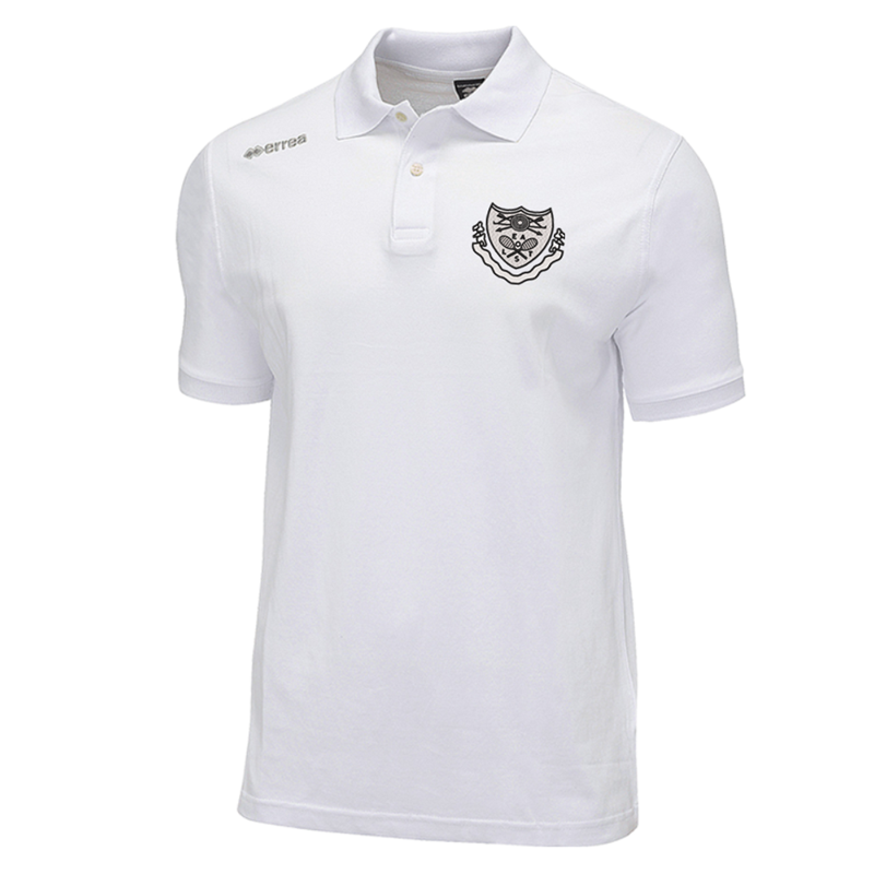 Polyester Errea brand poloshirt in white. Embroidered club logo to left breast and print to rear. Small to 4XL Adults.