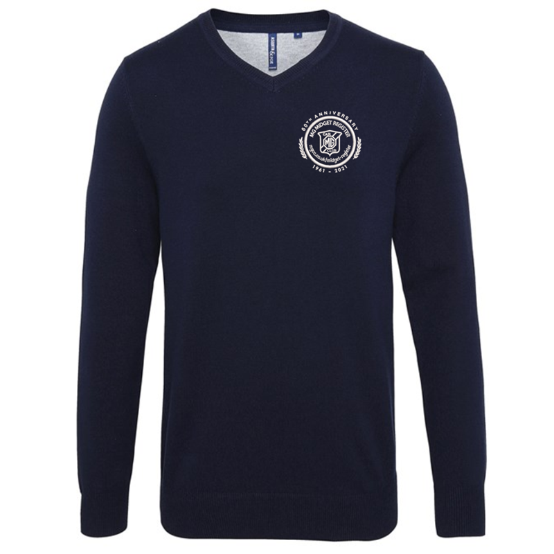 V-neck style jumper. Patch on the inside reverse neck for a contrast effect. Decorative tuck stitching. Ribbed knit on the neckline, cuffs and hem.Washing Instructions Domestic wash at 40c. With logo embroidered.
