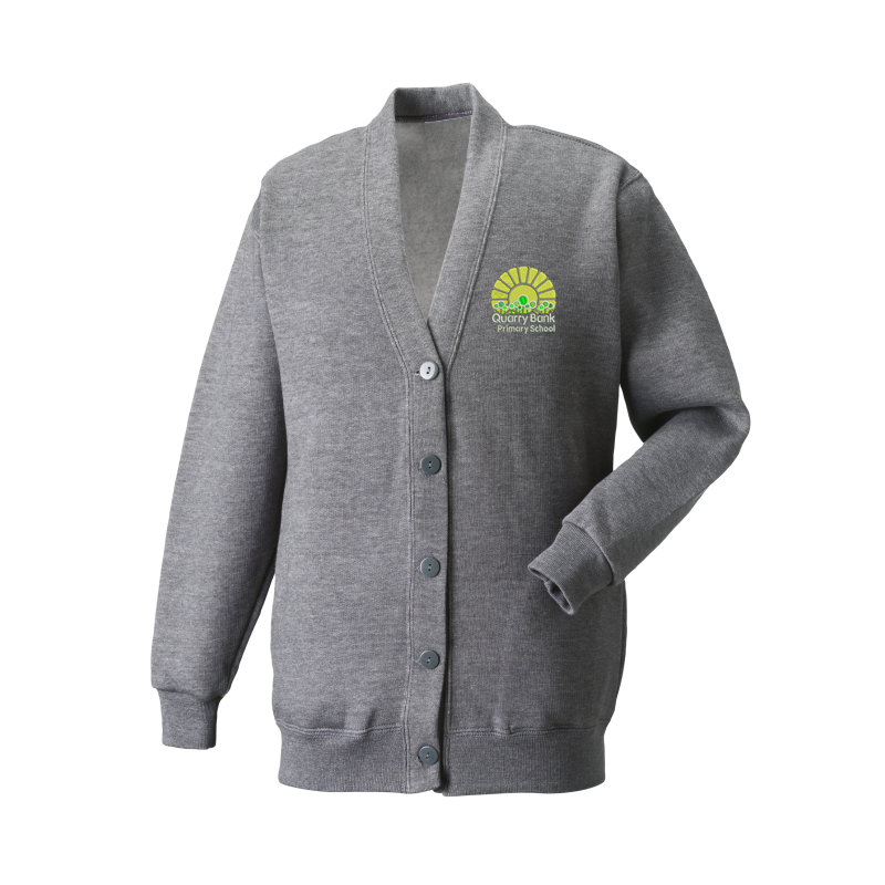 Grey Childs Cardigan, embroidered with School logo